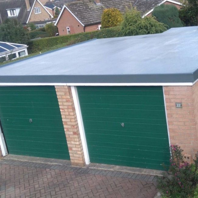 Double garage fibreglass flat roof by peter dodds roofing