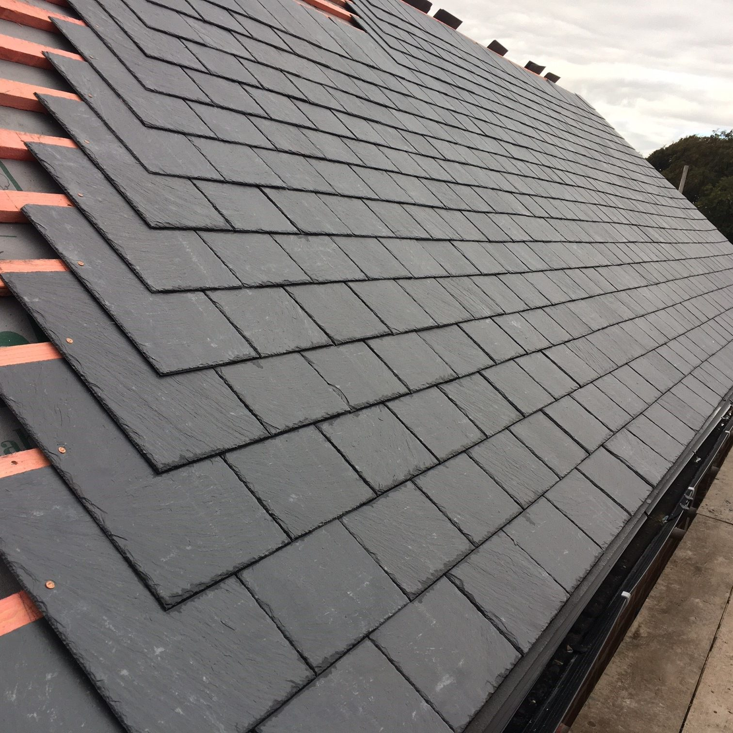 Slate pitched roof installation